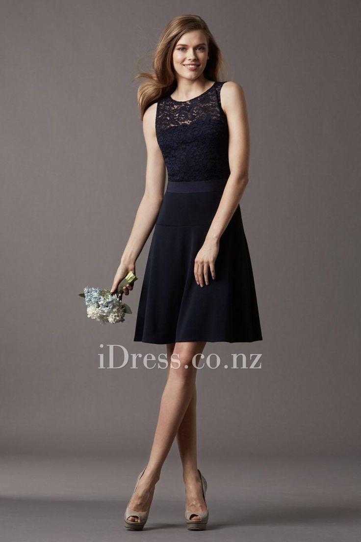 midnight blue lace jewel neck sleeveless bridesmaid dress idress.co.nz