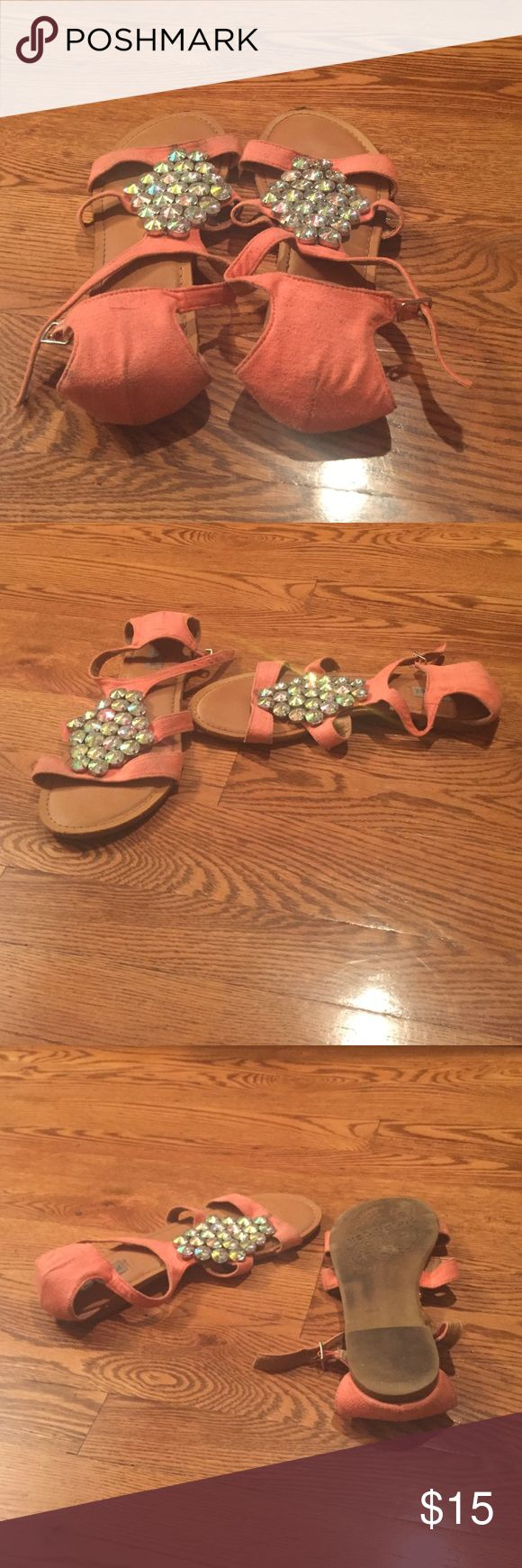 Not Rated peach sandals with crystals Peach buckle sandal with crystals flats Not Rated Shoes Sandals