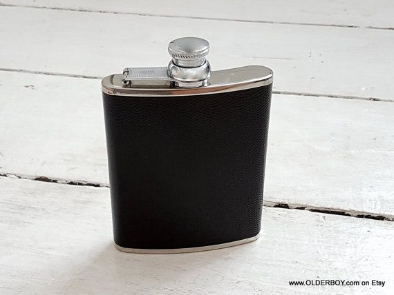 Vtg Black HIP FLASK 6 oz portable hip flask flagon metal ecological leather flask vodka whisky hip-flask best friend gift for man C01/644
