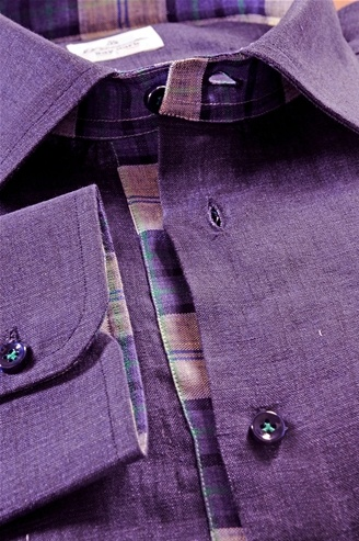Linen shirt, color gradients from Emerald to Blue, Men's Shirt, Shirt Tailor - $139