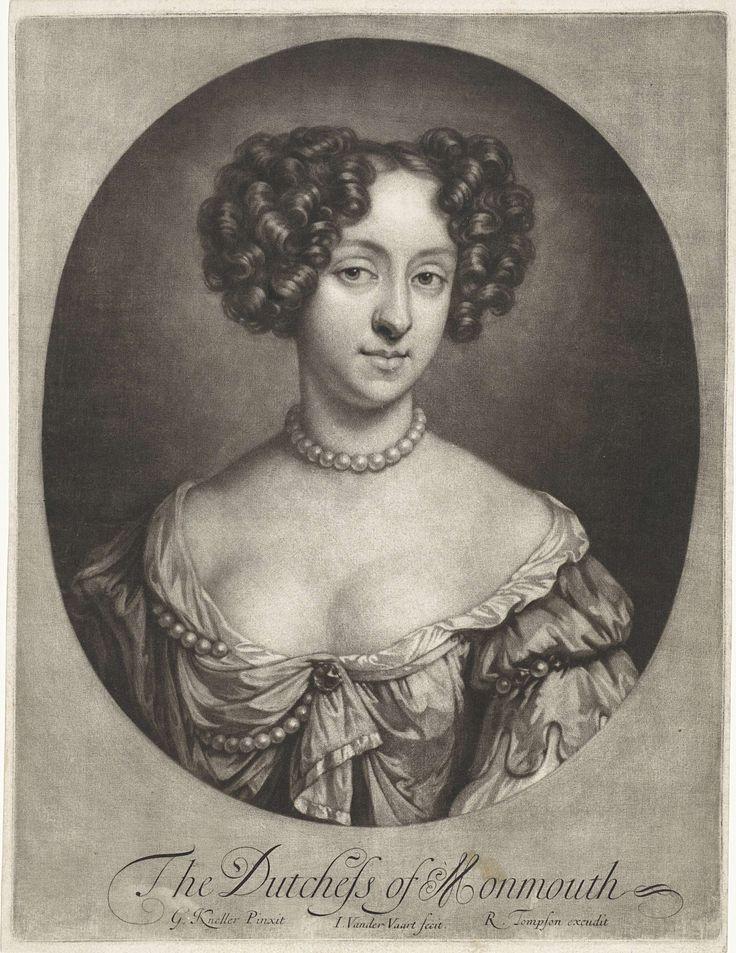 Jan van der Vaart | Portret van Ann, hertogin van Monmouth, Jan van der Vaart, Richard Tompson, 1657 - 1693 | Ann Scott, hertogin van Monmouth, met een parelsnoer om haar hals.