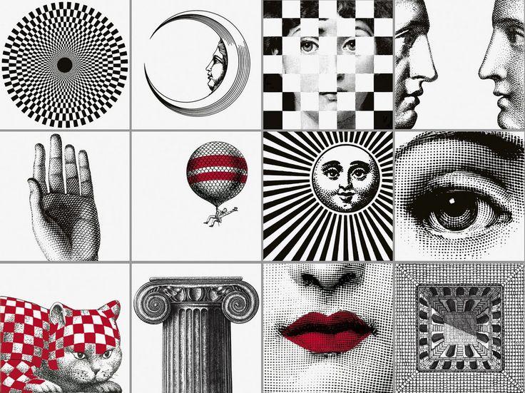 CERAMICA BARDELLI coll. Fornasettiana design by Piero Fornasetti (BiancoExtra 20x20cm) 300€ le set de 12 carreaux