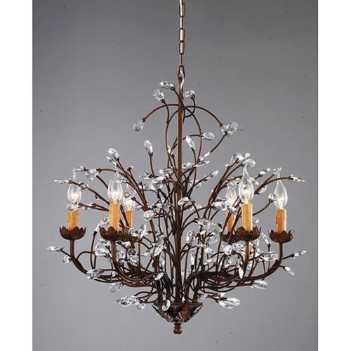 BC206 Antique Bronze 6 Light Crystal And Iron Chandelier ChandeliersChandeliers For Dining RoomPottery