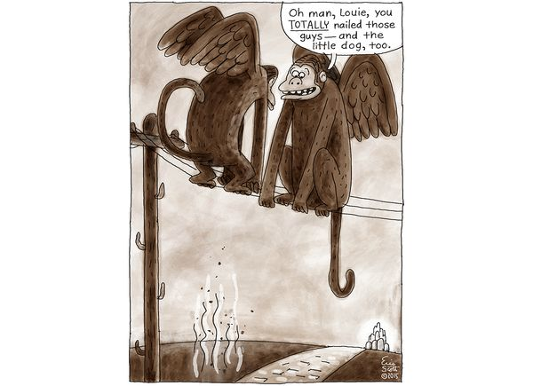 1 and Done comic - Wizard of Oz, flying monkey humor