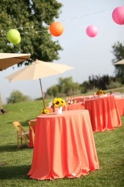 Coral Cocktail Table Linens