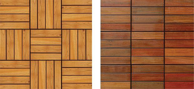 Quadrotta piastrella in legno Teak 300x300 linea liscia - Posa scacchiera - Posa Lineare