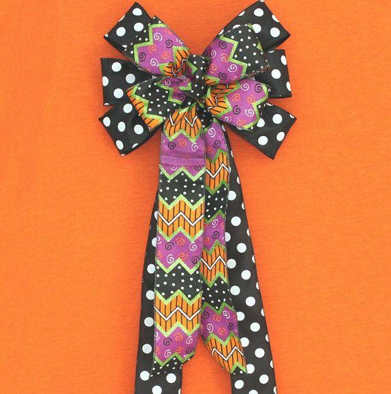 Black Polka Dot Chevron Halloween Bow Decorations