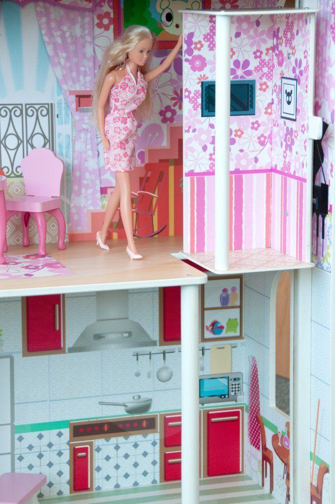 Woody Barevný domeček s výtahem Dřevěný třípatrový domeček pro panenky typu Barbie do 30 cm je dodáván včetně zobrazeného příslušenství.