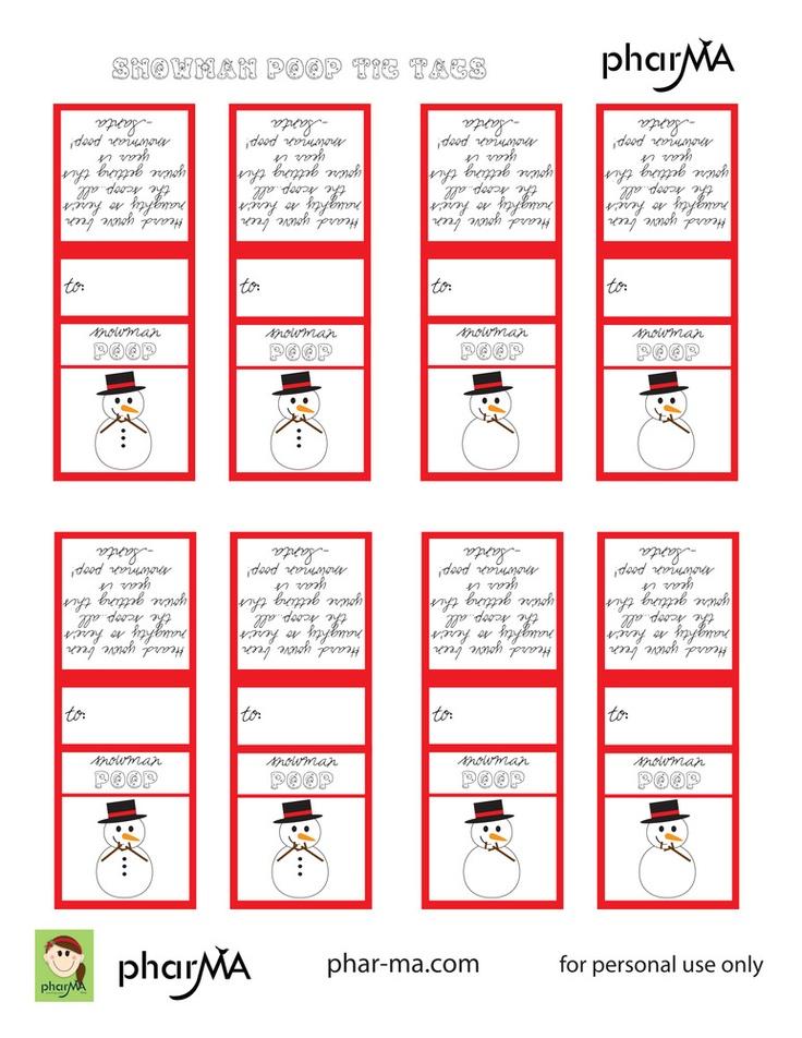Snowman Poop Label  Large TicTacs  Cardstock  Label