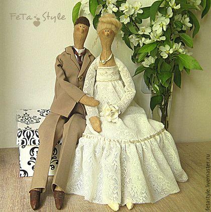 Купить Куклы текстильные интерьерные Жемчужная свадьба Жених и Невеста - кукла ручной работы, кукла