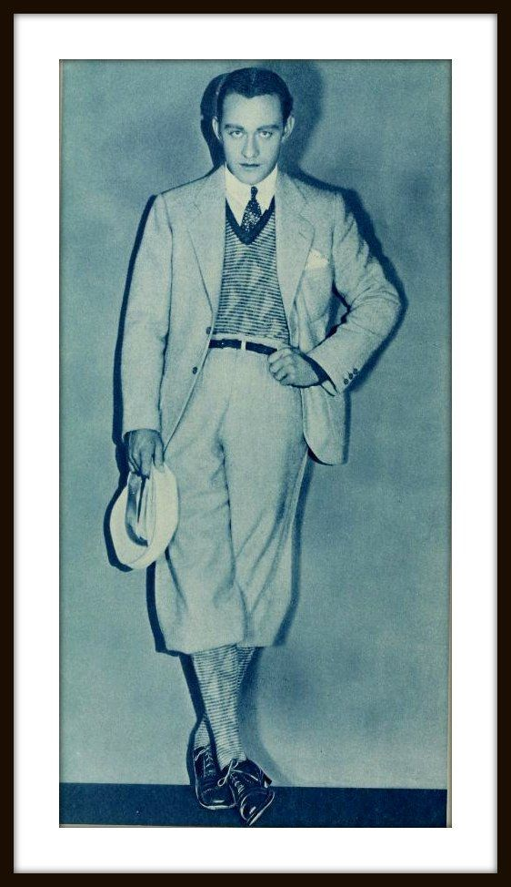 Conrad Nagel Photoplay Mag. April 1928 wearing 'plus fours' or baggy over the knee knickers became popular (not without some controversy off the golf course). Sporting.