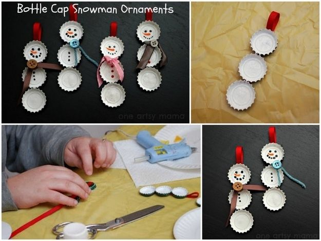 Bottle Cap Snowmen | 36 Adorable DIY Ornaments You Can Make With The Kids