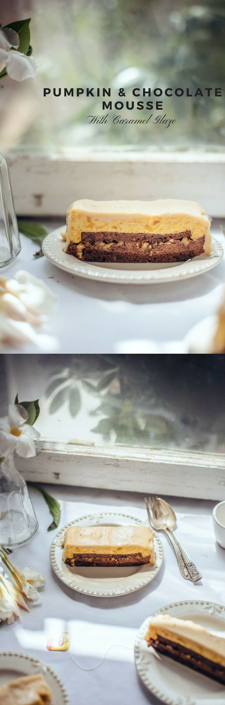 One layer of rich soft chocolate cake and one layer of heavy chocolate mousse, and the last layer is creamy pumpkin mous…