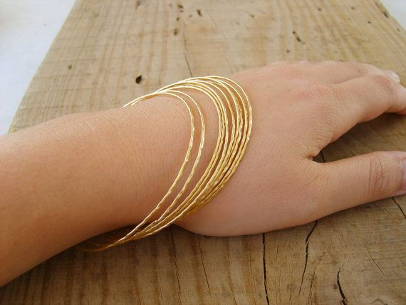Hand crafted gold bangle Thin bangle bracelets in gold