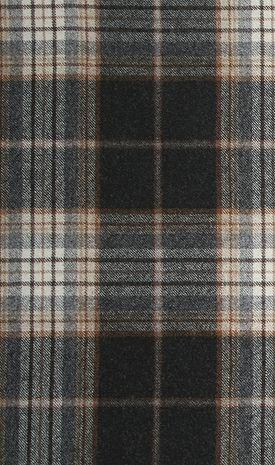 Lomond Tartan Fabric Black, grey, tan and white wool tartan