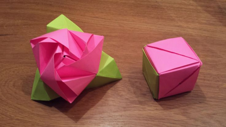 How To Make an Origami Magic Rose Cube (Valerie Vann) - Published on Jan 11, 2016 How to make an Origami Magic Rose Cube.  This is a cube that can be transformed into a rose with a few simple moves. The model is designed by Valerie Vann  The Green and Red modules are made with the same size of paper. (10cm x 10cm is a good size for this model) We'll use 6 units: 3 Green sheets and 3 Pink.