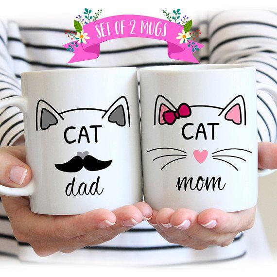 Katzenliebhaber-Geschenk-Becher, Katzen-Mamma, Katzen-Vati, Becher für Katzenliebhaber