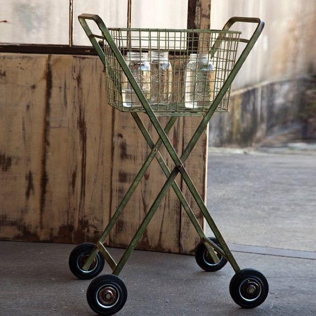 Distressed Green Metal Rolling Cart