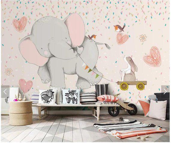 Cartoon Elephant Wallpaper Mural For Children Room Bedroom