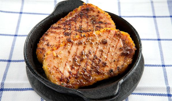 Honey Mustard Peameal Bacon. Must-have dish to accompany pancakes or French Toast