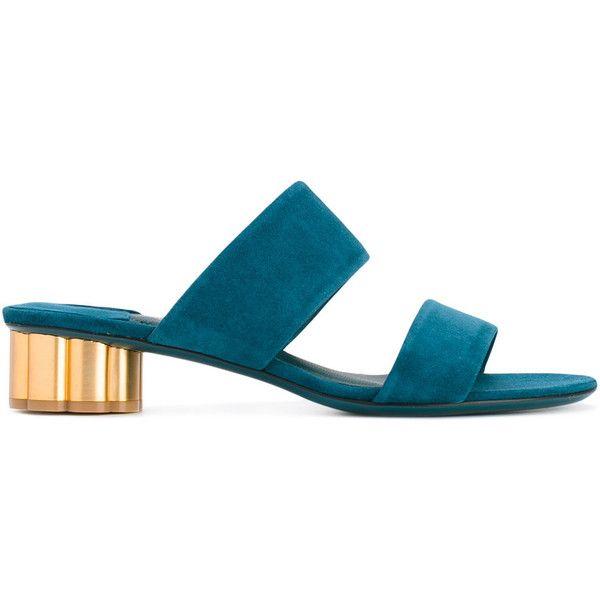 Salvatore Ferragamo Belluno Sandals found on Polyvore featuring shoes, sandals, petrol blue, leather slip-on shoes, blue leather shoes, open toe sandals, leather slip on shoes and leather sandals