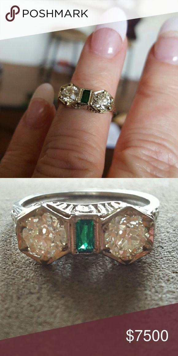 Vintage ring Old diamond cut 1 karat each. Jewelry Rings
