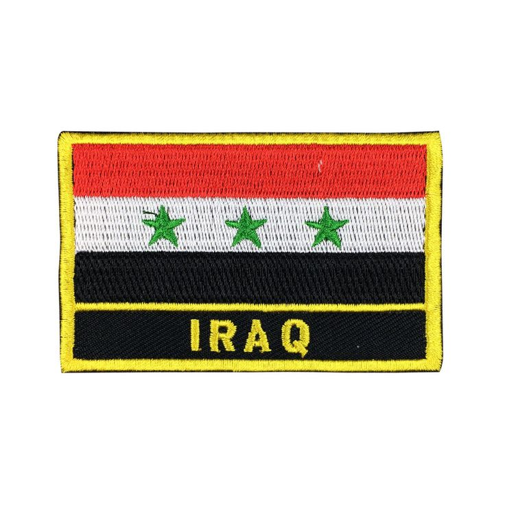 Iraq Flag Patch Embroidered Patch Gold Border Iron On patch Sew on Patch Bag Patchmeet you on Fleckenworld.com