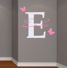 Wall Decals Vinyl Aufkleber Decal Home Dekor Art Wandbilder Monogramm erste personalisierte Custom Name Baby Schmetterling Mädchen Kinderzimmer Schla…