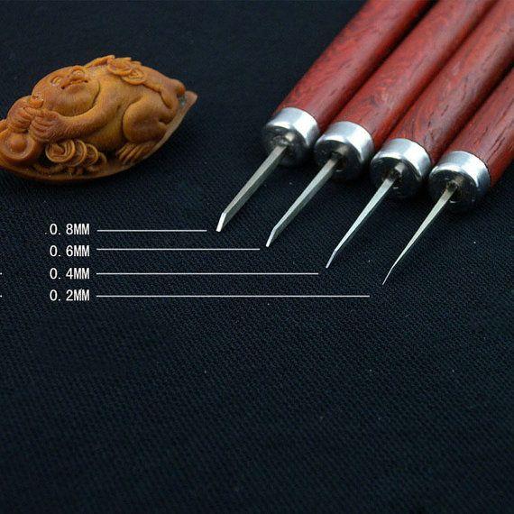 Professionelle Olive Tranchiermesser carving Tools, schnitzen Schnitzeisen Werkzeuge vor allem kleine micro Carving-4 Messer-set
