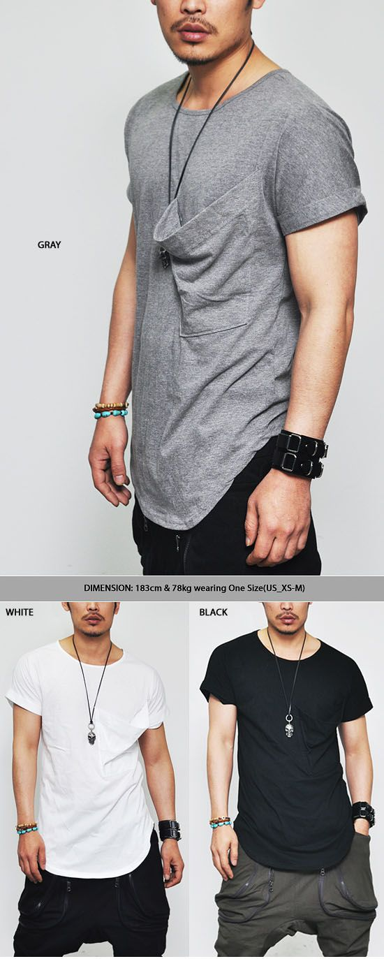 Tops :: Tees :: Re-All Color)Edge Loose Fit Big Pocket Folded Sleeved-Tee 155 - Mens Fashion Clothing For An Attractive Guy Look