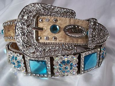 WOMENS WESTERN BLING BELT COWHIDE HAIR  BLUE SQUARE CONCHOS  DESIGN SIZE L 37-38