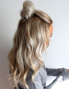 light blonde hair medium hairstyle with a topknot