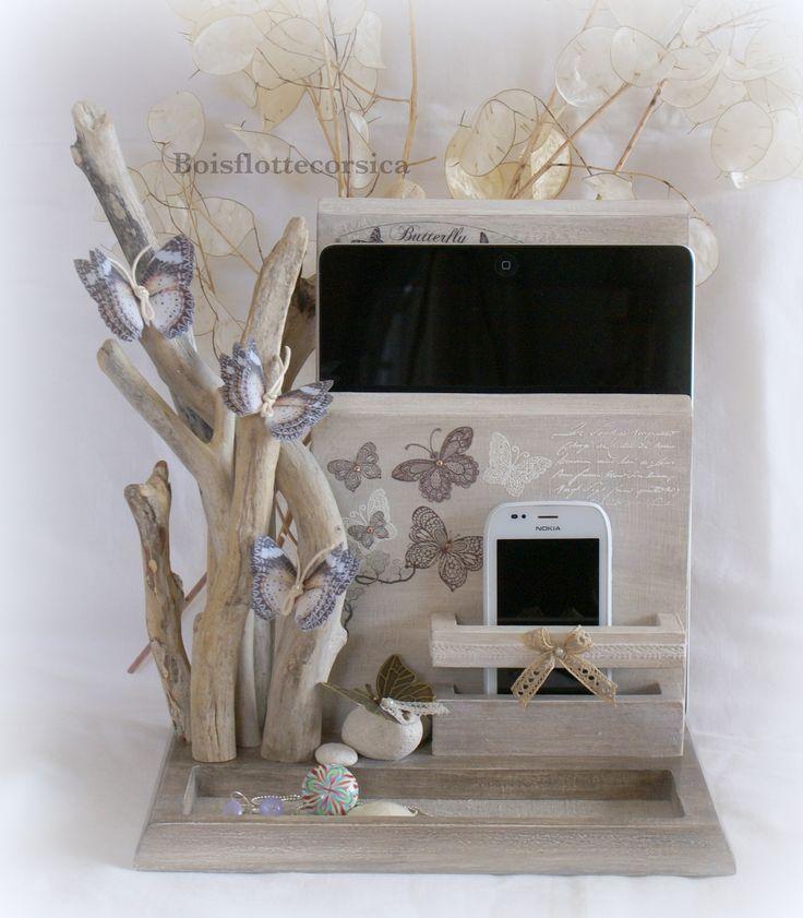 Serviteur vide poches bois patin et bois flott pour tablette et portable livre monnaie - Meuble bois flotte ...