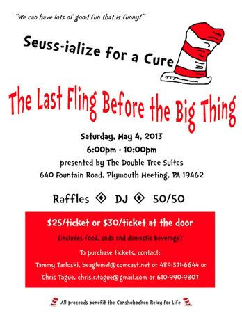 Conshy Relay for Life Hosting Dr. Seuss-Themed Fundraiser - Plymouth-Whitemarsh, PA Patch