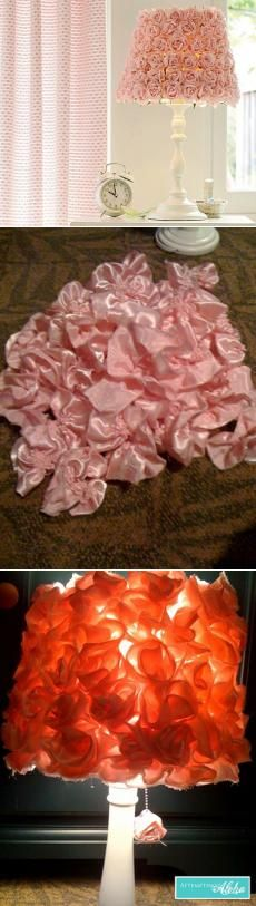 Лампа своими руками – декор абажура розами из ткани.
