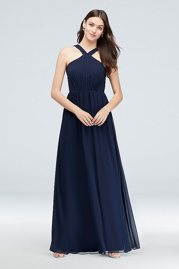 Y Neck Long Chiffon Bridesmaid Dress David S Bridal