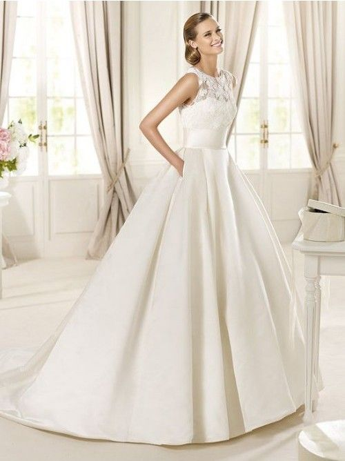 Satin and Lace Illusion Jewel Neckline Ball Gown Style with Lace Applique Bodice 2013 Wedding Dresses 333431
