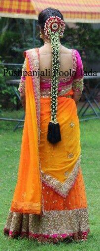 Beautiful in half satee and poola jada.........