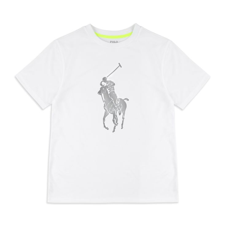 RALPH LAUREN Boys Big Pony Performance T-Shirt - White Ralph Lauren boys short sleeve t-shirt features the big pony logo print in reflective metallic silver across the chest. The technical fabrics blended with cotton make this a great piece that you need in your wardrobe. Pair these with the 'Performance Logo Hoodie' & 'Performance Logo Sweatpants' to complete the sporty look.