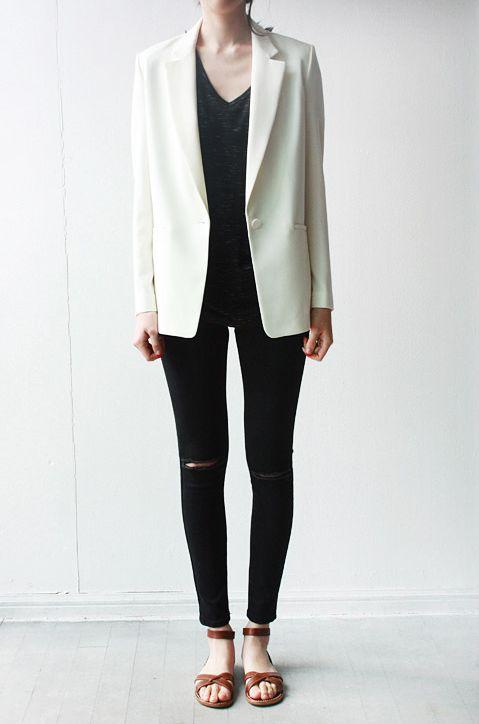 Minimal + Classic: cream blazer with black