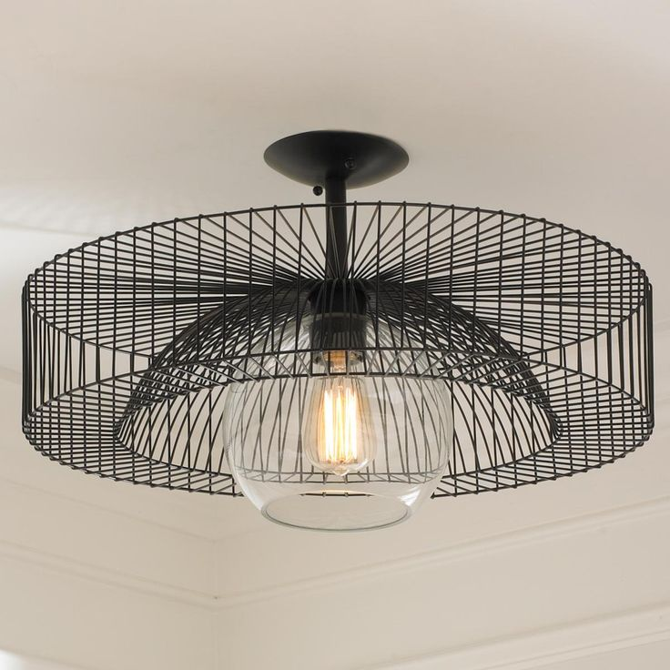 Wire Wheel Semi-Flush Ceiling Light