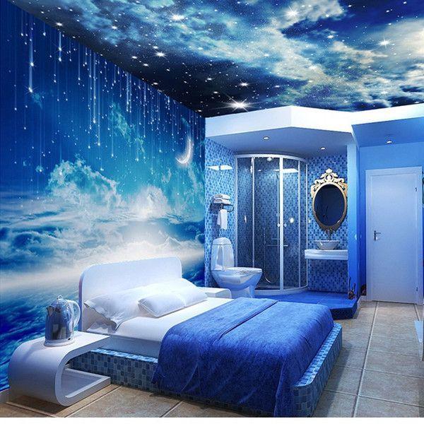 Beibehang Sterne Fototapete 3D Stereo Personalisierte k Wohnzimmer Zimmer Decke Wand Galaxy 3D Wallpaper papel de parede