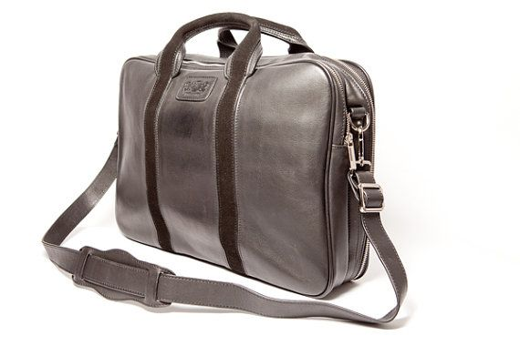 Handmade Italian Leather Black Laptop Carrier Bag