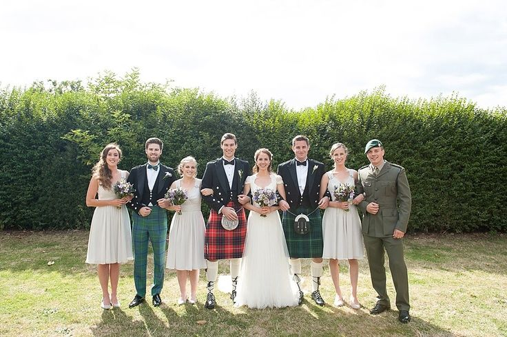 Wedding Party Portrait with Groomsmen in Kilts - Annasul Y Wedding Gown And No 1 By Jenny Packham Bridesmaids For A Rustic Wedding At The Thames Rowing Club With Groom In Kilt And A Touch Of Tartan Theme With Images By Fiona Kelly