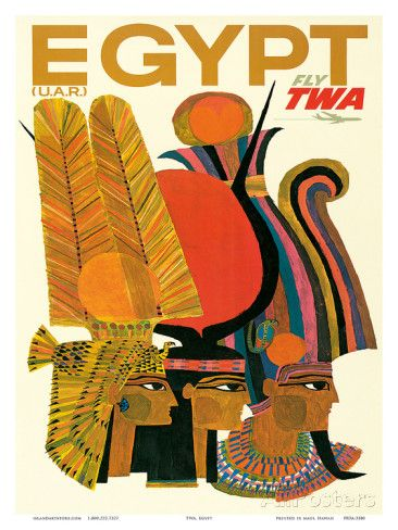 Egypt - Fly TWA (Trans World Airlines) - United Arab Republic (U.A.R.) - Egyptian Pharaohs Taidevedos
