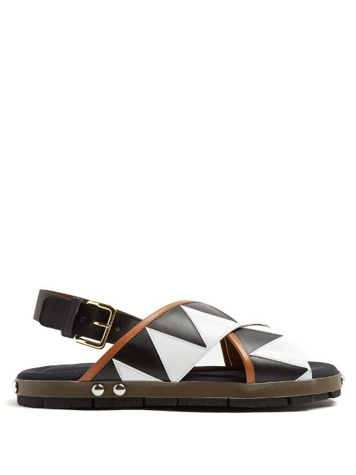 Geometric Leather Crisscross Flat Sandals, Black-White. Marni SandalsMarni  ShoesFlat ...