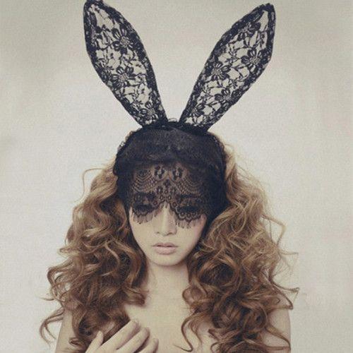 Fashion Headbands Novelty Girl's Sexy Black Rabbit Bunny Ears Veil Eye Mask Hair Bands Solid Women Headwear Lace Sexy Headdress