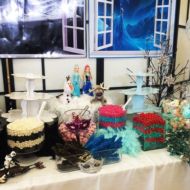 Frozen/ Star Wars themed candy buffet. AMAZING. We LOVE hosting Frozen parties. Book yours today 1300 130 313 #party #kidsparty #disco #sydney #wollongong #melbourne #adelaide #perth #discoparty #birthday #kidsdisco #birthdayparty #yum #candybuffet #boptillyoudrop #boptillyoudropauatralia #entertainment #frozen #frozenparty #partyentertainment #kidsentertainment
