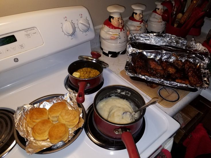 Grilled bbq ribs/chicken corn mash potatoes biscuits