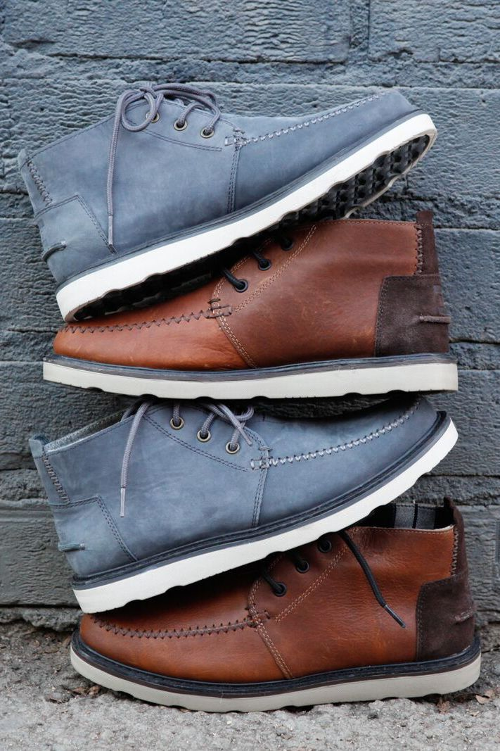 Weather. Not an issue in Waterproof TOMS Brown Leather or Grey Suede Men's Chukka Boots.